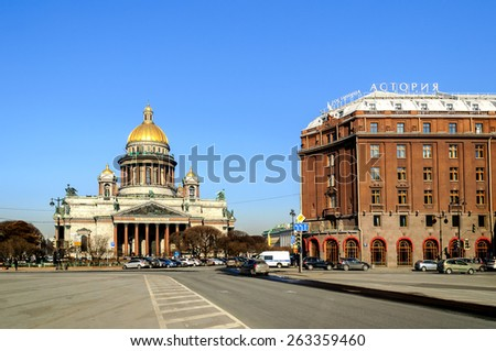 "SAINT-PETERSBURG, RUSSIA - MARCH 17, 2015.  St. Isaac's Cathedral and the hotel ""Astoria"" on St. Isaac's Square"