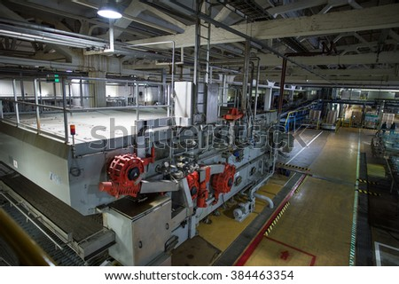 Saint-Petersburg, Russia - March 1, 2016: Top view to  the production lines forof beer.  Beer production plant