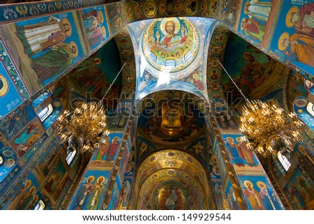 SAINT PETERSBURG, RUSSIA - MAY 28: Fully decorated ceiling of Church of Our Savior on the Spilled Blood in Saint Petersburg, Russia on May 28, 2012. Religious  artcraft work made with mosaics. - stock photo