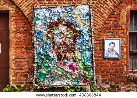 SAINT-PETERSBURG, RUSSIA - MAY 25, 2016: Portrait of the composer Mussorgsky from garbage at the exhibition of art objects created from household and industrial wastes. Kronstadt