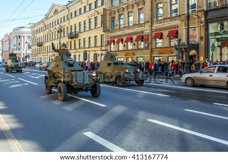 Saint Petersburg, Russia, may 1, 2015: preparing for the may 9 parade. Military vehicles of World war II going along Nevsky Prospekt. Rehearsal for the may 9 parade.