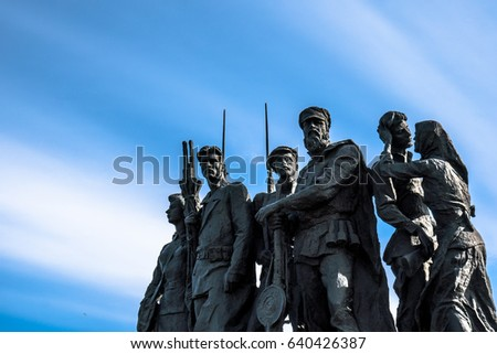 Saint Petersburg, Russia - May 8, 2017: Statue of soldiers marching to war at the Monument to the Heroic Defenders of Leningrad
