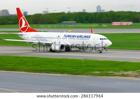 SAINT-PETERSBURG, RUSSIA - MAY 23, 2015. Turkish Airlines  Boeing 737-8F2 aircraft (registration number TC-JVG) prepares for take-off from the runway of Pulkovo International Airport  - stock photo