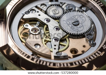 "Saint-Petersburg, Russia - November 10, 2016: Assembly line of mechanical watches ""Rocket"". Petrodvorets Watch Factory."