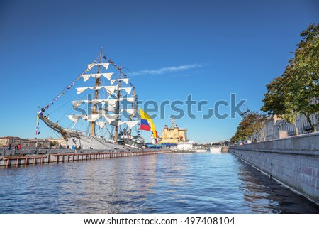 SAINT-PETERSBURG, RUSSIA - SEPTEMBER 13, 2016: ARC GLORIA is a three-masted barque, which is a training ship and the official flagship of the Colombian Navy, on a visit to St. Petersburg, Russia