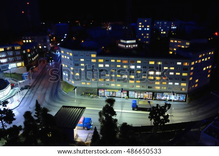 Saint Petersburg, Russia - September 18, 2016: fragment big Grand maket Russia. The largest model of Russia in the world.