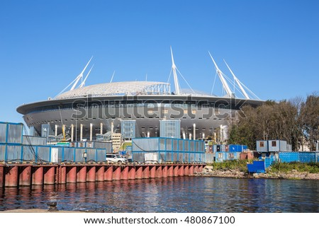 SAINT-PETERSBURG, RUSSIA - SEPTEMBER 6, 2016: The construction of the new football Krestovsky Stadium in St. Petersburg for the World Cup