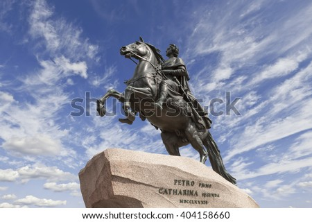 Saint-Petersburg. the equestrian statue of Peter the Great, known as the Bronze Horseman and installed in 1782 on the Senate Square. - stock photo