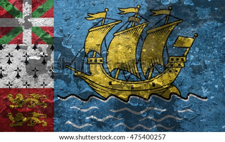 Saint Pierre and Miquelon country flag with dark grunge wall texture background. / flag of Saint Pierre and Miquelon with raindrops