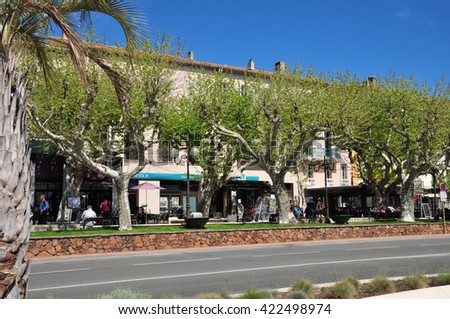 Saint Raphael; France - april 14 2016 : shops in the seaside street