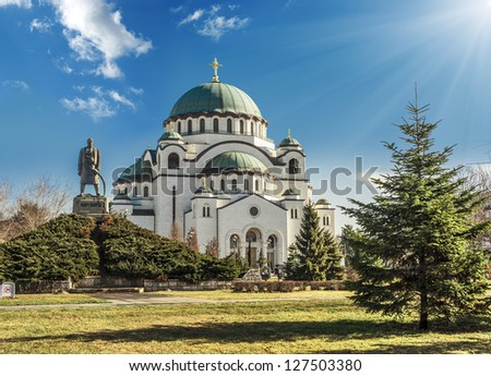 Saint Sava cathedral and Monument of Karageorge Petrovitch, Belgrade - stock photo