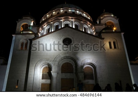 Saint Sava Cathedral by night