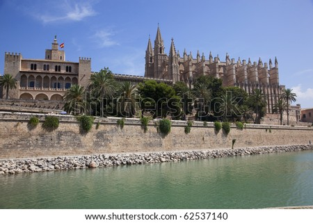 Saint Sebastian Cathedral in Palma de Majorca in Spain - stock photo