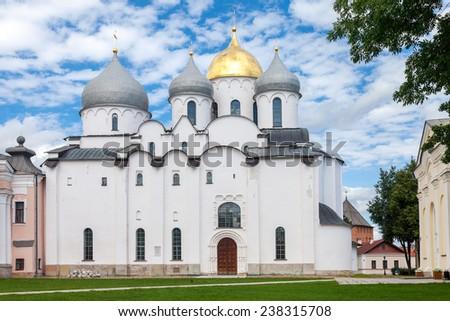 Saint Sophia Cathedral at Novgorod Kremlin. Cathedral was built between 1045 and 1050 - stock photo