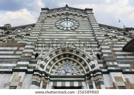 Saint Stephan Cathedral facade in Prato, Italy - stock photo