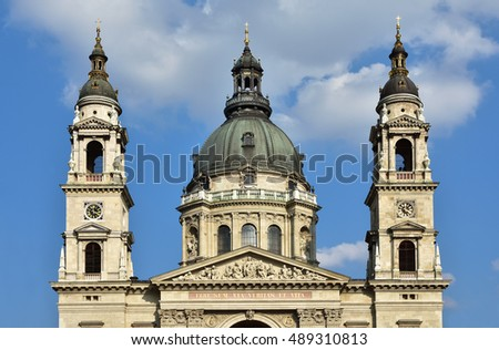 Saint Stephen Basilica beautiful classical dome in the center of Budapest, with twin bell towers