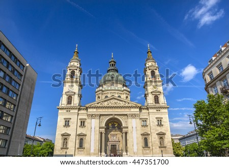 Saint Stephens Cathedral Budapest Hungary.  Saint Stephens named after King Stephens who brought Christianity to Hungary.  Cathedral built in the 1800s and consecrated in 1905.