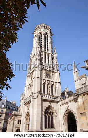 Saint Sulpice church - Paris - France,  20/08/2011-  bell tower - stock photo