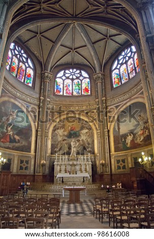 Saint Sulpice  church - Paris - France,  20/08/2011 internal - stock photo