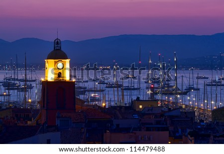 Saint Tropez beach resort, France night scene - stock photo