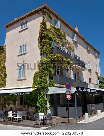 SAINT TROPEZ, FRANCE - JUNE 5, 2014: Architecture of Saint Tropez city in French Riviera, France.