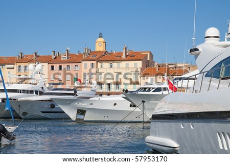 Saint-Tropez in the south of France, harbor of luxury yachts