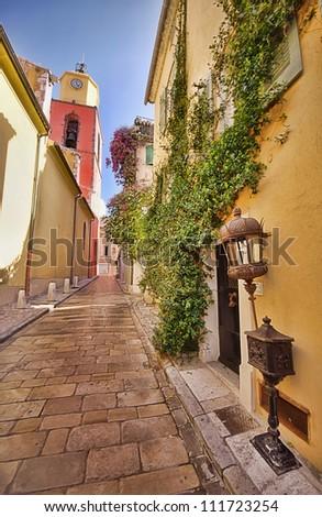 Saint Tropez narrow street - stock photo