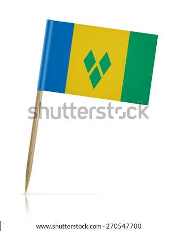 Saint Vincent and the Grenadines flag toothpick on white background