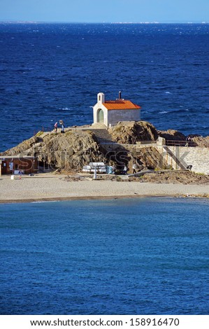 Saint Vincent chapel built in 1701 in the Mediterranean village of Collioure, Vermilion coast,  Pyrenees Orientales, Roussillon, France - stock photo