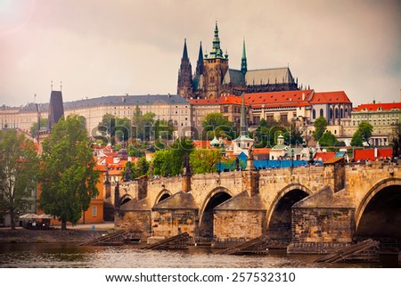 Saint Vitus cathedral and Charles bridge in Prague, Czech republic - stock photo