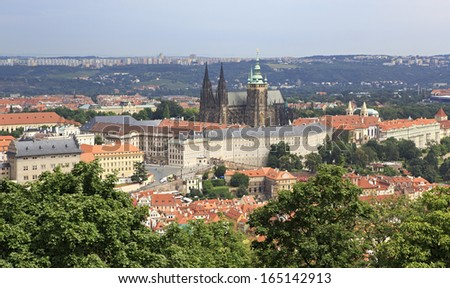 Saint Vitus Cathedral and Prague Castle. View from Petrin Lookout Tower.