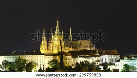 Saint Vitus cathedral lit by the night lights in Prague, Czech republic - stock photo