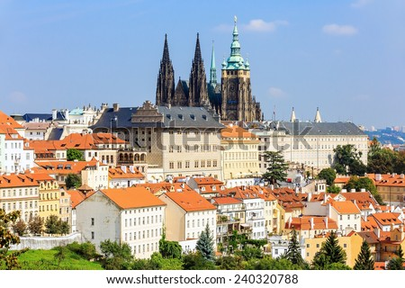 Saint Vitus (St. Vitt's) Cathedral and Prague Castle. Prague, Czech Republic - stock photo
