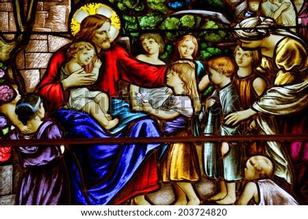 SAINTE-LUCE DE LA MER QUEBEC,CANADA AUG. 25: Stained glass window in the Sainte- Luce de la mer church Quebec Canada on Aug. 25 2012. The church was built between 1838 and 1840 in a neo-Renaissance - stock photo