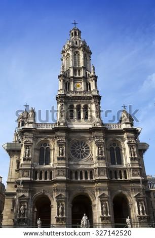 Sainte Trinite church in Paris. France - stock photo