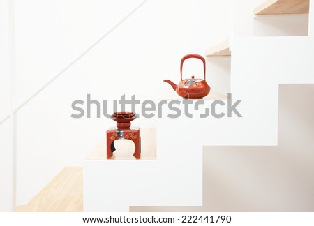 Sake of Japan placed on the stairs