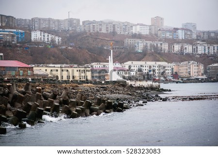 Sakhalin port. City by the sea in winter