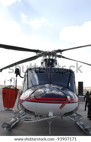 SAKHIR AIRBASE, BAHRAIN - JANUARY 21: Static display of Bell 412, Ministry of Interior Helicopter in Bahrain International Airshow at Sakhir Airbase, Bahrain on 21 January, 2012