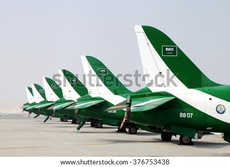 SAKHIR AIRBASE, BAHRAIN - JANUARY 21: Static display of Saudi Hawks in Bahrain International Airshow at Sakhir Airbase, Bahrain on 21 January, 2016