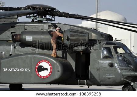 SAKHIR, KINGDOM OF BAHRAIN  JANUARY 21: A U.S. AIR FORCE SIKORSKY MH-53 at Sakhir Airbase, during the 2nd Bahrain International Airshow 21 Jan 2012 in Bahrain. - stock photo