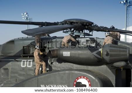SAKHIR, KINGDOM OF BAHRAIN - JANUARY 21: A U.S. AIR FORCE SIKORSKY MH-53 at Sakhir Airbase, during the 2nd Bahrain International Airshow 21 Jan 2012 in Bahrain. - stock photo