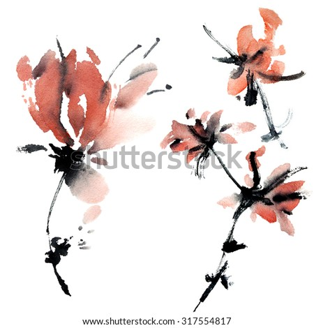 Sakura flower. Watercolor and ink illustration in style sumi-e, u-sin. Oriental traditional painting.  .