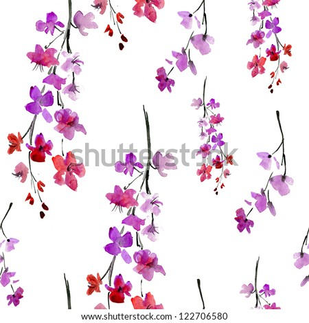 sakura flowers. pattern - stock photo