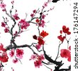 sakura flowers. seamless watercolor pattern - stock photo