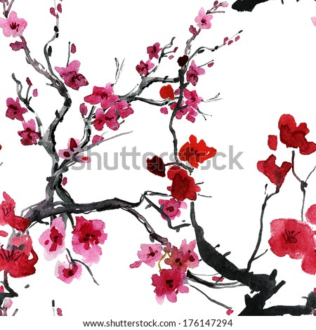 sakura flowers. seamless watercolor pattern - stock photo