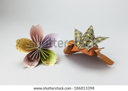 sakura & kabuto Origami - stock photo