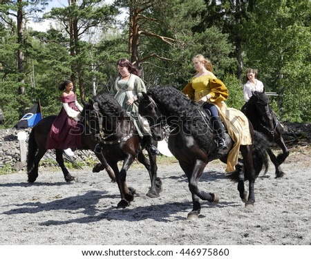 SALA, SWEDEN - JUNE 5: Unidentified people in the days of the silver mine celebration parade with  prinsess on horse on June 5, 2016 in Sala Sweden - stock photo