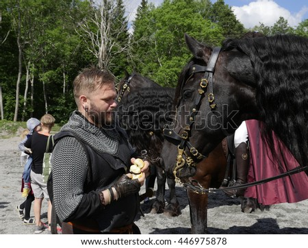 SALA, SWEDEN - JUNE 5: Unidentified people in the days of the silver mine celebration parade with knight and  horse on June 5, 2016 in Sala Sweden - stock photo