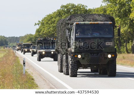 SALACGRIVA, LATVIA - JUNE 14, 2016: Dragoon Ride II - US army convoy drives on June 13 and 14, 2016 through Latvia to an Estonian military base - stock photo