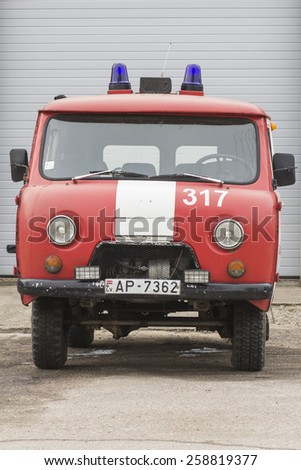 SALACGRIVA, LATVIA - MARCH 6, 2015: Soviet UAZ based firetruck at the city street